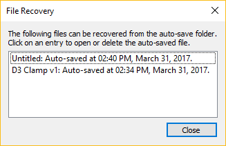 Fusion 360 file recovery