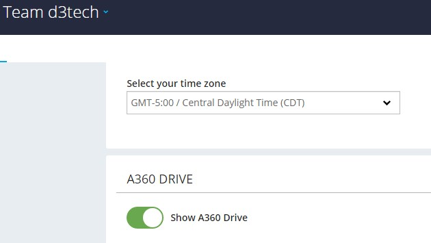 How to show  A360 drive in a Fusion 360 team account