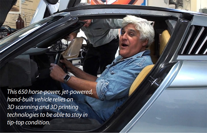 Jay Leno relies on 3d scanning and 3d printing to stay in top condition