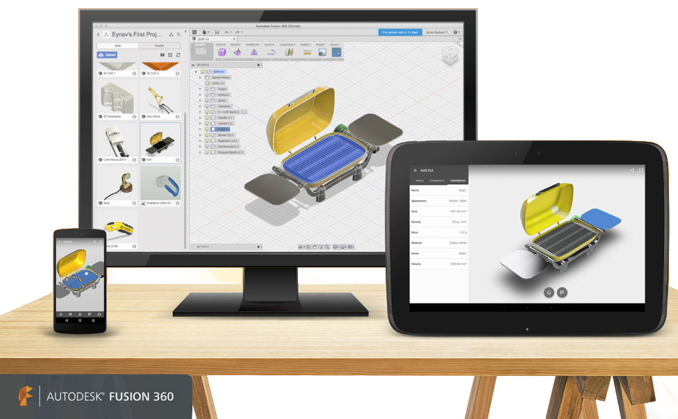 Autodesk fusion 360 on mobile, desktop, and tablet platforms