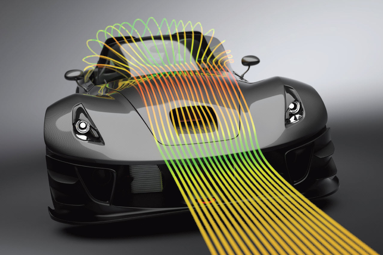 Autodesk CFD fluid flow and thermal simulation of vehicle
